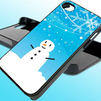 Cartoon Snowman Christmas for iPhone 4/4s Case - iPhone 5 Case - Samsung S3 - Samsung S4 - Black - White (Option Please)