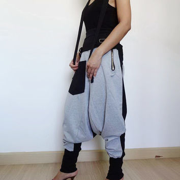 25% OFF 09.Smoked Grey/Black - Ninja Pants, Suspender Drop Crotch Trousers, Unisex Gaucho , Ribbed Cotton,Two Tone Colour.