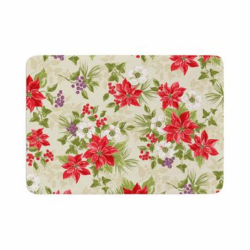 "Jacqueline Milton ""Poinsettia Posy"" Red Green Holiday Floral Painting Watercolor Memory Foam Bath Mat"