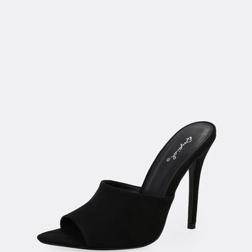 Pointy Peep Toe High Stiletto Heel Mules