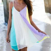 Boho Sexy Women Chiffon Backless Off Shoulder Rainbow Summer Beach Braces Skirt Vest Top Mini Dress Ladies Size S M L = 4904955268