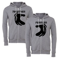 forever together mickey hands heart matching couple zipper hoodie