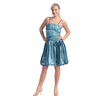 CLEARANCE - Teal Spaghetti Strap Cocktail Bubble Dress With Bow (Size Large)