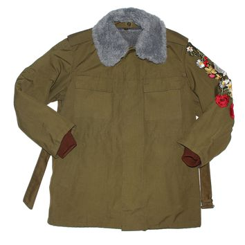 Vintage Military Parka Coat - Custom Olive Green Rose Embroidered Jacket by American Anarchy Brand