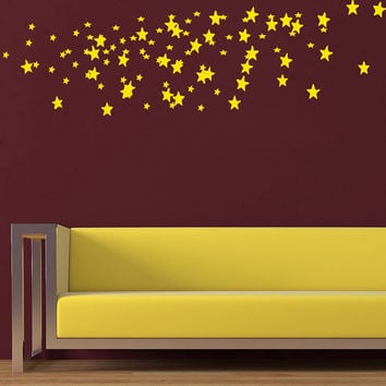 Confetti Wall Decal Set of Gold Stars Decals Vinyl Stikers Art Murals Home Bedroom Decor Dorm Living Room Interior Design Nursery Decor KY78