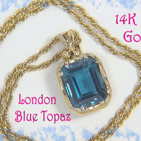 14K Gold ~ Caribbean Waves - Goldsmith Custom London Blue Topaz Pendant & Necklace