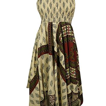 Mogul Interior Women Halter Dress Handkerchief Hem Vintage Upcycled Silk Printed Summer Beachwear Sundress