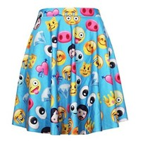 Women's Wechat Emoji 3d Digital Print High Waisted Pleated Skirt