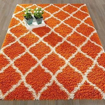 "Ottomanson Ultimate Shaggy Collection Moroccan Trellis Design Shag Rug Contemporary Bedroom and  Living room Soft Shag Rugs, Orange, 3'3"" L X 4'7"" W"