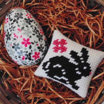 Easter Bunny and Egg Set of Two, Needlepoint Black Rabbit Mini Pillow with Decoupage Egg, Needle Art Bunny, Easter Egg, Basket Fillers