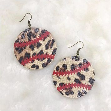 Leopard Baseball Earrings