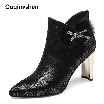 Ouqinvshen Gingham Crystal Sexy Women Winter Boots Elegant Plus Size Pointed Toe Boots High Heels Strange Style Ankle Boots 8CM