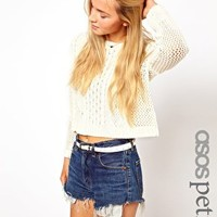 ASOS PETITE Exclusive Crop Jumper in Knit at asos.com