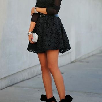 Black Embroidery Pleated Lace Long Sleeve A-line Flared Cocktail Party Mini Dress