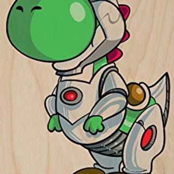 'Plumbers League of America' Robotic One Eyed Character Funny Video Game & Super Hero Team Parody - Plywood Wood Print Poster Wall Art