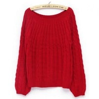 Red Cable Knit Jumper with Boat Neckline and Lantern Sleeves