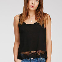 Crochet-Hem Slub Knit Top