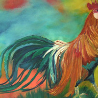 beautiful rooster, red blue, original unique,  oilpainting  canvas,  12 x 16 in/30x40cm, free shipping, wall decor, home decor, art deco,