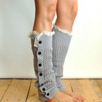 Gray Lace And Button Hollow Knitted Leg Warmers