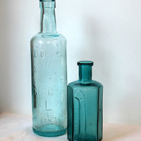 2 Vintage AquaTeal 1800s Glass Bottles by kcvintageshop on Etsy