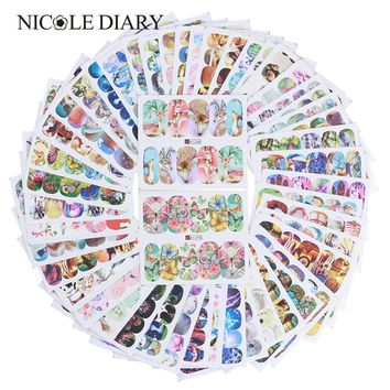 50 Sheets Animal Flower Water Decal Nail Art Transfer Sticker Butterfly Cat Dog Dream Catcher Stickers Manicure Tips Decoration