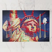 Statue of Liberty with 4th of July Word Cloud Paper Placemat