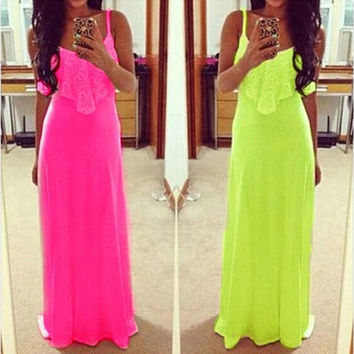 Lady Long Maxi Summer Beach Party Backless Sundress Womens Sexy Casual Dress Hot [9221776964]