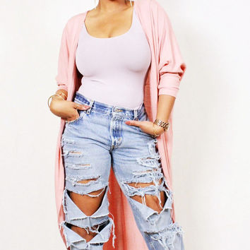 "Boyfriend ripped cut out distressed ""The Rip Effect"" denim jeans"