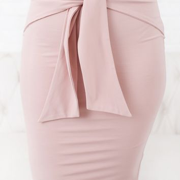 Business Trip Tie Front Skirt (Pink)