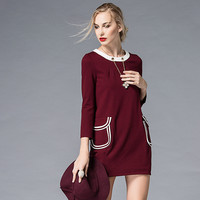 Maroon Long Sleeve Dress