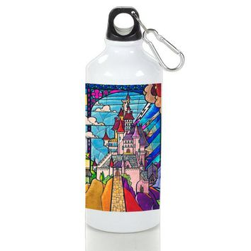 Gift Sport Bottles | Beauty And The Best Castle Stained Glass Aluminum Sport Bottles