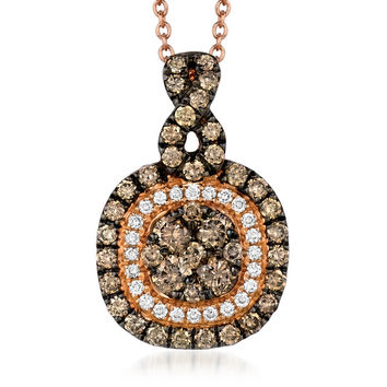 Le Vian® 14K Strawberry Gold Double Halo Pendant Featuring Pave Set Chocolate & Vanilla Diamonds®