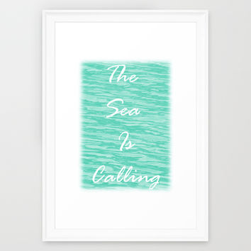 The Sea Is Calling - Sea Green Framed Art Print by Moonshine Paradise | Society6