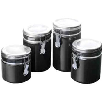 4pc Black Ceramic Canister Set