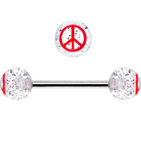 Clear Glitter Red Peace Sign Barbell Tongue Ring | Body Candy Body Jewelry