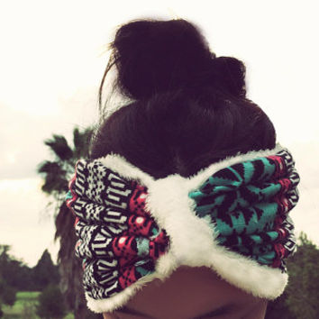 Aztec Tribal Print Fuzzy Turban Headband, Ear Warmers, Aztec Print, Tribal Print, Turban Holiday Headband, Winter Headband, Button Headband