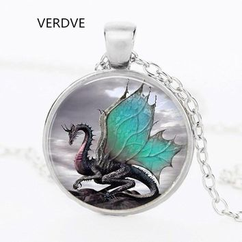 VERDVE brand 2017 blue dragon necklace Glass dome handmade long section of art jewelry necklace charm dragonfantasy fantasy jewe