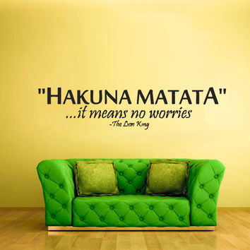 rvz837 Wall Vinyl Sticker Bedroom Decal Words Sign Quote Hakuna Matata Lion King Z837