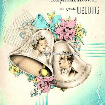 Congratulations Vintage Wedding Card 1950s Digital Clip Art Printable