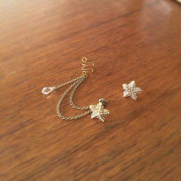Gold crystal starfish ear cuff earrings