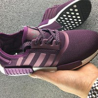 women adidas nmd boost casual sports shoes purple