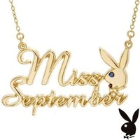 Playboy Necklace MISS SEPTEMBER Pendant Gold Plated Playmate of the Month Collection Official Genuine Authentic Licensed Jewelry Jewellery