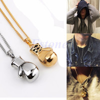 Fashion Men Women Steel Boxing Glove Pendant Necklace Chain Bib Charm Rocky Gift