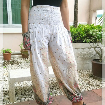 White Peacock Printed Yoga Pants Hippie Baggy Boho Styles Gypsy Thai Pantaloons Tribal Hipster Aladdin Clothing Trousers Clothes Handmade