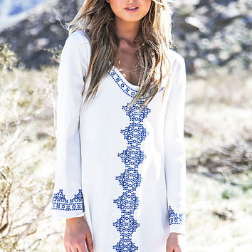 Geometric Print Scooped Neck Embroidered Tunic Dress