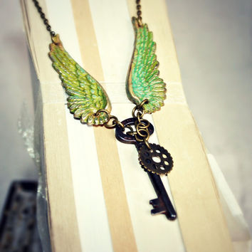 Winged Key Necklace, Vintage Metal Key with Verdigri Patina Brass Wings, Light Purple Glass Bead and Watch Gear