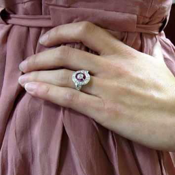 Antique Platinum Diamond & Synthetic Ruby Engagement Ring