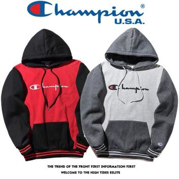 LMFDQ7 Teh New Color Blocking Champion Embroidery Hoodies Sweater Pullover
