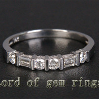 Baguette/Round Diamond Wedding Band Half Eternity Anniversary Ring 14K White Gold Channel