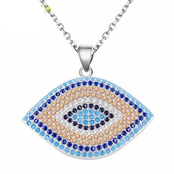 Micro Pave Colorful Crystals Necklace | Turkish Eye Evil Eye Charm Pendant | Evil Eye Choker